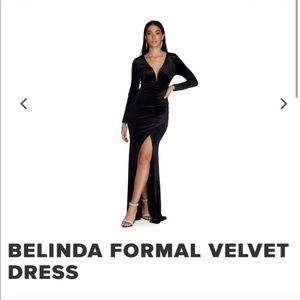 Windsor Long Black Velvet Dress